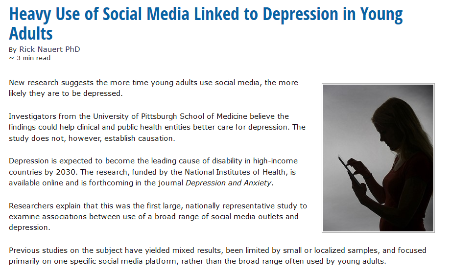 Link between social media and depression among young ...